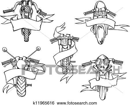Clip Art Motorrad Schablonen Mit Bänder K11965616 Suche
