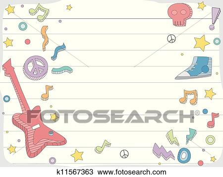 Clipart Of Music Doodle Background K11567363 Search Clip Art