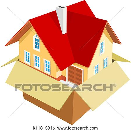 clipart of new house out of the box k11813915 search clip art rh fotosearch com new house clipart new house clipart free