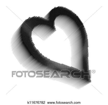 Noir Dimensionnel Pixel Image De Coeur Dessin