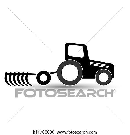 Noir Tracteur A A Charrue Sur A Blanc Arriere Plan
