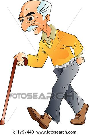 clipart of old man walking illlustration k11797440 search clip rh fotosearch com old person clipart free Old Man Cartoon