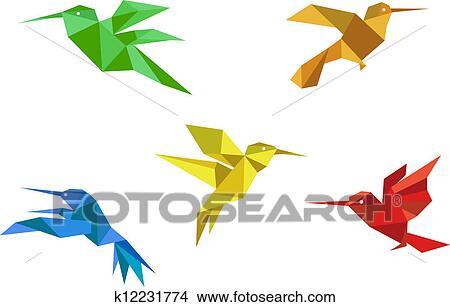 Easy Origami Hummingbird   how to make origami hummingbird models ...   307x450