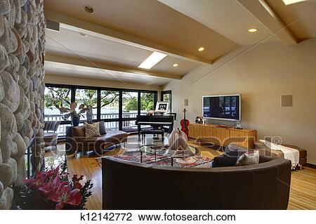 Ouvert, moderne, maison luxe, intérieur, salle de séjour, et, pierre,  fireplace. Banque d\'Image