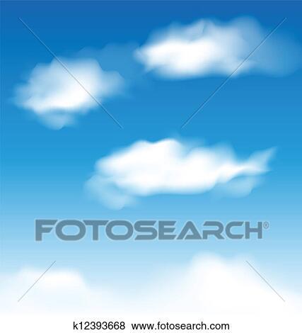 Clipart Papier Peint Ciel Bleu A Realiste Nuages K12393668