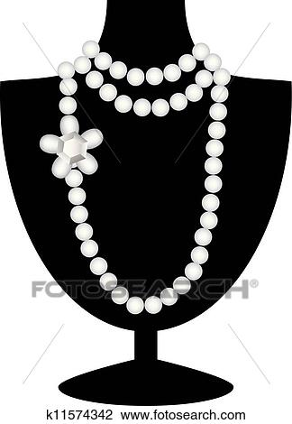 Pearl Necklace On Black Mannequin Clipart K11574342