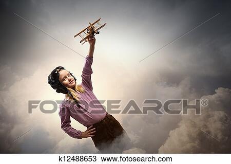 Petite Fille Dans Pilot S Chapeau Dessin