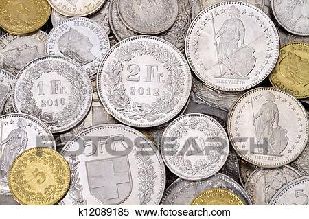 A Pile Of Cur Legal Tender Swiss Francs Chf Coins All Coin Denominations Are Represented In This Image