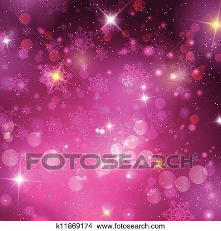 Pink Christmas Background With Bokeh Lights Snowflakes And Stars