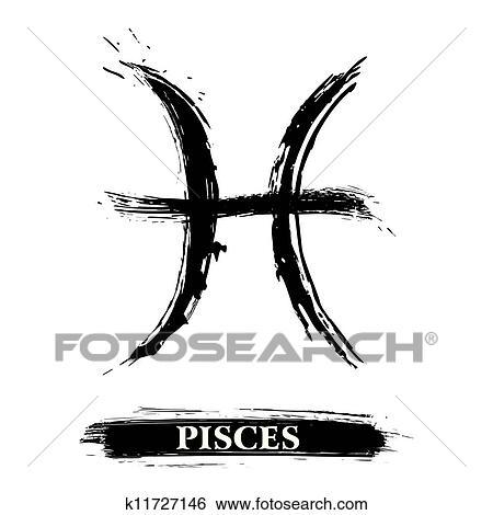 Clip Art Of Pisces Symbol K11727146 Search Clipart Illustration
