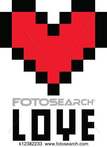 Pixel Heart Clipart K12382233 Fotosearch