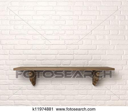 Witte Planken Aan De Muur.Plank Op Een Muur Voorkant Clipart K11974881 Fotosearch
