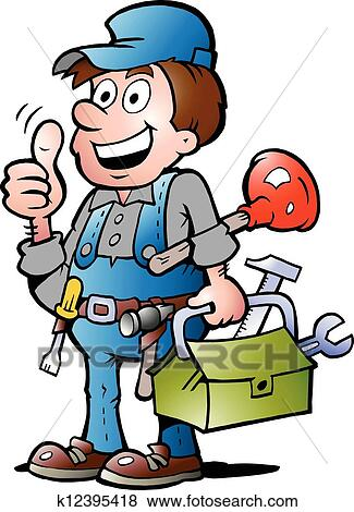 clip art of plumber handyman giving thumb up k12395418 search rh fotosearch com black and white clipart of a thanksgiving giving clipart black and white