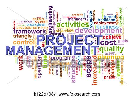 stock illustration of project management word tags k12257087