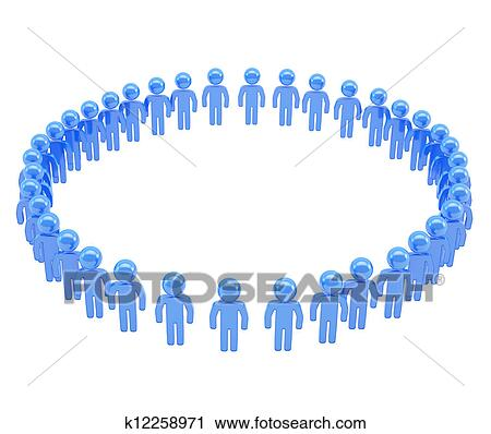 Clipart of Round frame made of group of symbolic people k12258971 ...