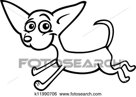Clip Art Of Running Chihuahua Cartoon For Coloring K11990706