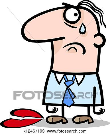 Clipart Of Sad Man On Valentines Day Cartoon K12467193 Search Clip
