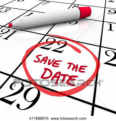 stock illustration of save the date words circled on calendar red rh fotosearch com