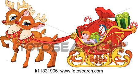 schlitten von weihnachtsmann clip art k11831906. Black Bedroom Furniture Sets. Home Design Ideas