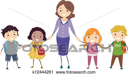 clipart of school kids and school teacher k12444261 search clip rh fotosearch com free clipart images for sunday school teachers free clipart images for sunday school teachers