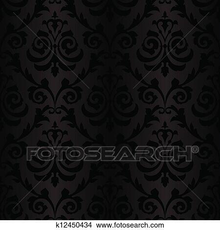 seamless black silk wallpaper pattern clipart  k12450434