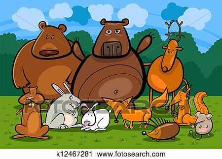 Carta da parati schizzo animale foresta realistica dell acquerello