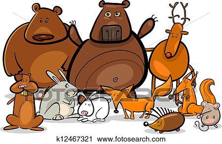 Set di illustrazione di animali polari pinguino orso cervo