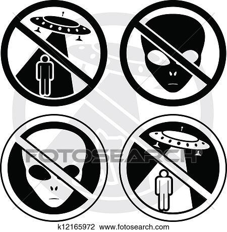Clipart Of Set Of Danger Ufo Signs K12165972