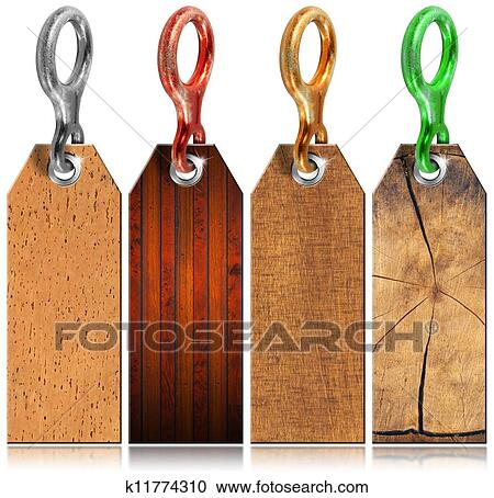 Set of Wooden Tags with Metal Ring - 4 items Clipart