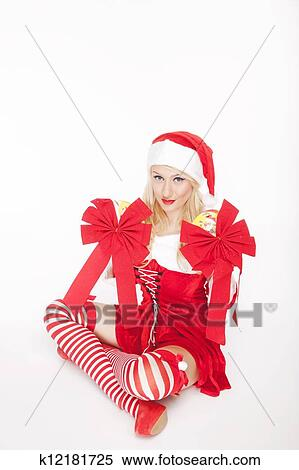 Sexy girl in christmas outfit