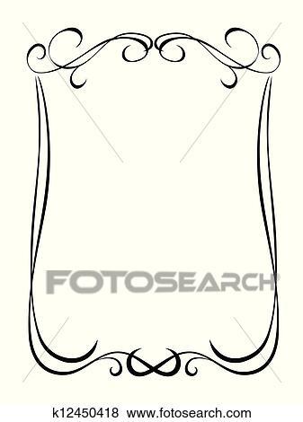 clip art of simple black ornamental decorative frame k12450418