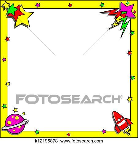 Space Themed Border Frame Clip Art k12195878
