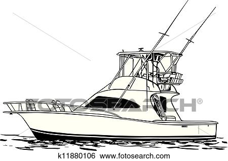 clip art of sport fishing boat k11880106 search clipart rh fotosearch com fishing boat clip art free fishing boat silhouette clip art