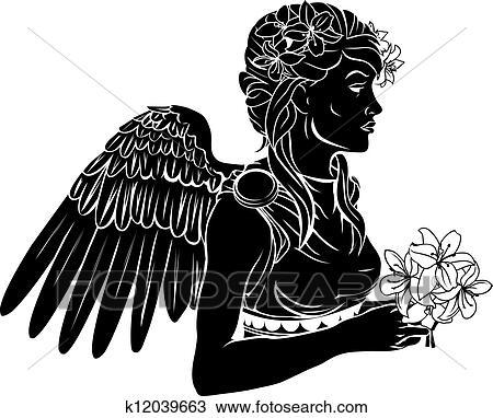 Clipart Stilizzato Angelo Donna Illustrazione K12039663 Cerca