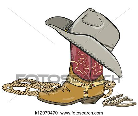prezzo di strada raccolto scegli originale Stivale cowboy, con, cappello occidentale, isolato, bianco Clipart