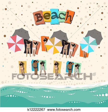 Clip Art Of Summer Beach With Sunbathing People K12222267