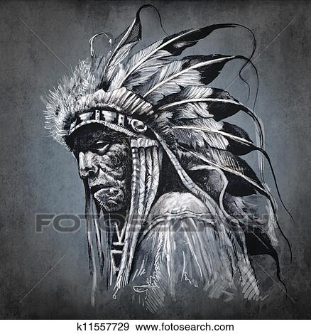 Tatouage Art Portrait De Indien Amerique Tete Sur Fond Fonce Banque D Illustrations K11557729 Fotosearch