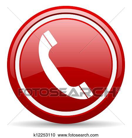 0072ead738b070 Stock Afbeelding - telefoon, rood, glanzend, pictogram, op wit, achtergrond.