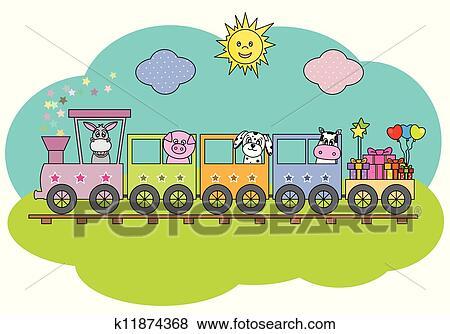 Clip Art Treno Con Animali Fattoria K11874368 Cerca Clipart