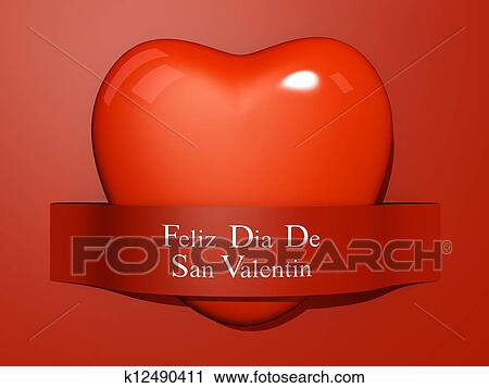 Valentines Paper Cut Out Spanish Language Stock Image K12490411