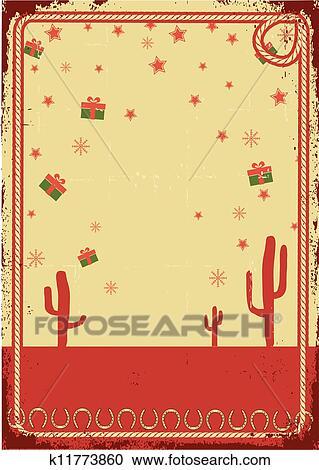 Clipart - vaquero, tarjeta de navidad, con, soga, marco, para, texto ...