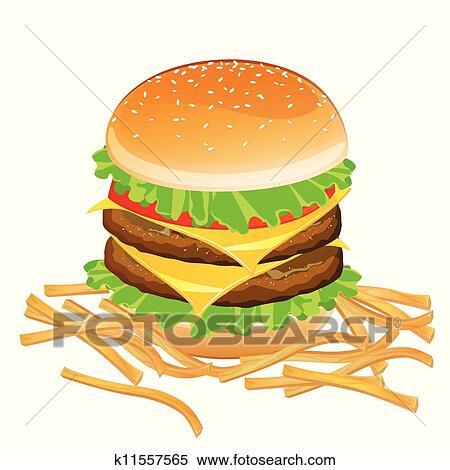 clipart vecteur hamburger et frites k11557565 recherchez des clip arts des illustrations. Black Bedroom Furniture Sets. Home Design Ideas