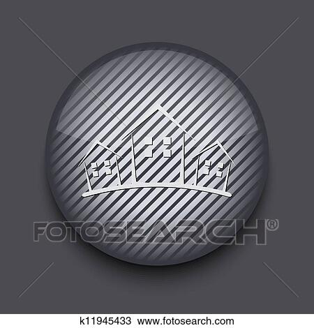 Vector App Circle Striped Icon On Gray Background Eps 10 Clipart K11945433 Fotosearch