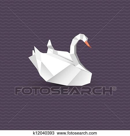 Clipart Of Vector Origami Swan K12040393 Search Clip Art