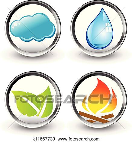 Clip Art Of Vector Symbols Of Four Elements Of Nature K11667739