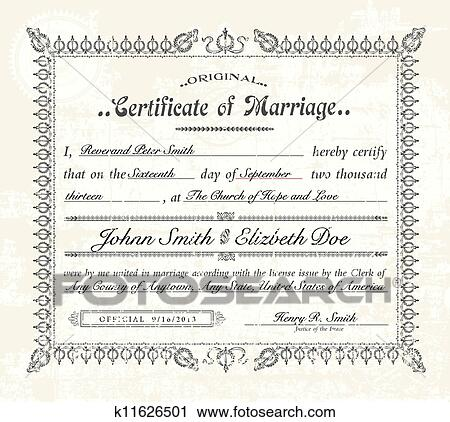 Clipart of Vector Vintage Marriage Certificate. k11626501 - Search ...
