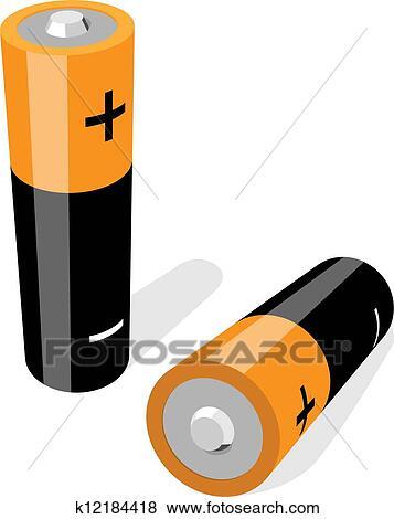 Vektor Abbildung Von Zwei Aa Size Batterien Freigestellt Weiß
