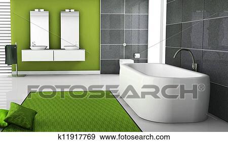 Colección de ilustraciones - verde, cuarto de baño, diseño de ...