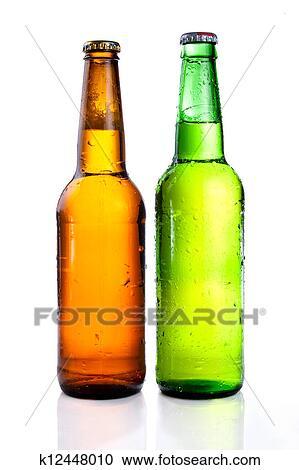 Verde E Marrone Bottiglia Birra Con Gocce Bevanda Senza