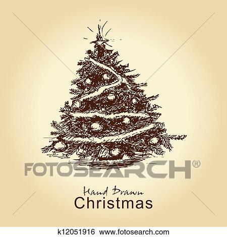 Clip Art - vintage christmas tree. Fotosearch - Search Clipart,  Illustration Posters, Drawings - Clip Art Of Vintage Christmas Tree K12051916 - Search Clipart